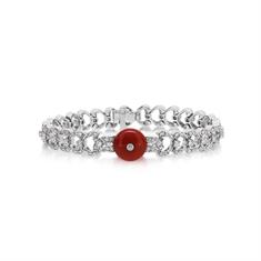 Coral & Diamond Fancy Linked Bracelet