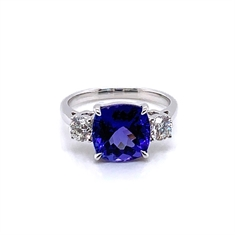 Cushion Cut Three Stone Tanzanite & Diamond Engagement Ring
