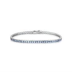 Aqua Princess Cut Channel Set Line Bracelet