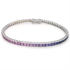 Rainbow Sapphire Princess Cut Line Bracelet Channel Set 7.27ct