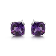 Amethyst Checkerboard Cushion Cut Stud Earrings