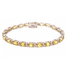 Oval Yellow Sapphire & Brilliant Cut Diamond Line Bracelet 14.40ct