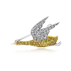 Fancy Yellow Diamond Bird Brooch