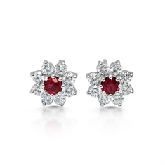 Ruby Diamond Claw Set Cluster Stud Earrings