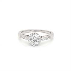 Six Claw Brilliant Cut Diamond Engagement Ring 0.90ct G SI1 GIA