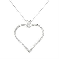 Brilliant Cut Diamond Set Open Heart Pendant