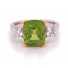 Peridot Cushion Cut Claw Set & Diamond Three Stone Dress Ring