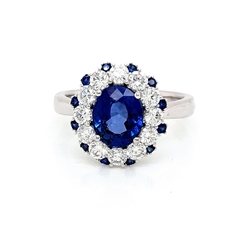 Tanzanite & Brilliant Cut Diamond Claw Set Dress Ring With Sapphire Accents