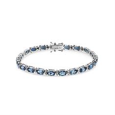 Oval Aquamarine & Brilliant Cut Diamond Line Bracelet