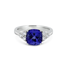 Tanzanite & Diamond Ring With Trefoil Shoulders
