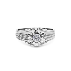 Gents Gypsy Set Brilliant Cut Diamond Ring