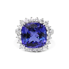 Cushion Cut Tanzanite & Brilliant Cut Diamond Claw Set Cluster Ring