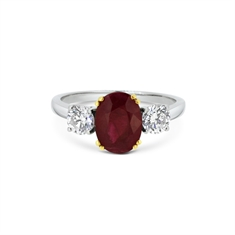 3 Stone Ruby & Diamond Claw Set Ring