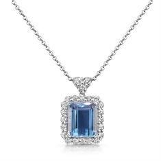 Aqua Octagon & Diamond Cluster Pendant With Trefoil Bail