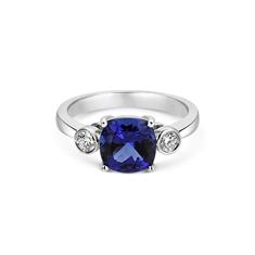 Cushion Cut Tanzanite & Brilliant Cut Rub-Over Diamond Ring