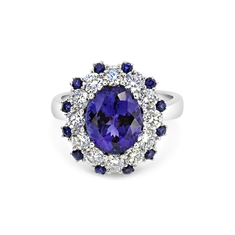 Oval Tanzanite & Brilliant Cut Diamond Dress Ring With Sapphire Accents