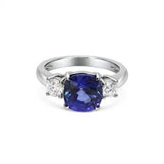 Sapphire Cushion Cut & Brilliant Cut Diamond 3 Stone Ring
