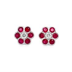 Rub-Over Set Ruby & Diamond Cluster Earrings