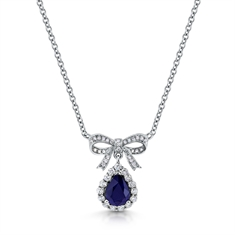 Sapphire Pear Shape Cluster Pendant With Bow Top