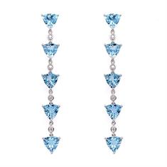 Aqua Trilliant Cut & Diamond Drop Earrings