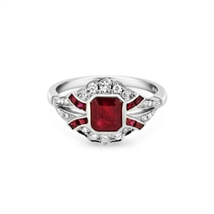 Deco Inspired Ruby & Diamond Engagement Ring