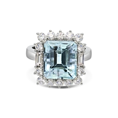 Octagon Aquamarine & Diamond Ring