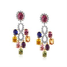 Multi Coloured Sapphire & Diamond Chandelere Drop Earrings