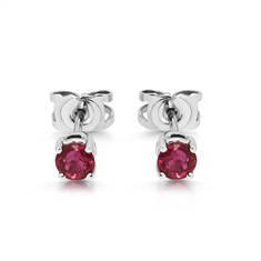 Round Ruby Claw Set Stud Earrings