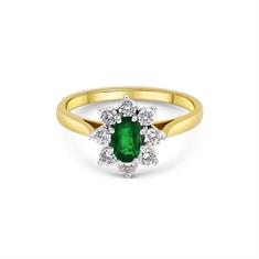 Oval Emerald & Brilliant Cut Diamond Cluster Ring