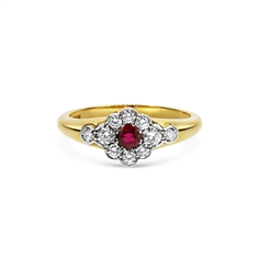 Ruby & Diamond Flower Cluster Ring