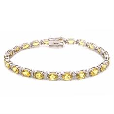 Oval Yellow Sapphire & Brilliant Cut Diamond Line Bracelet