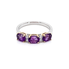 Claw Set Amethyst & Diamond Half Eternity Ring