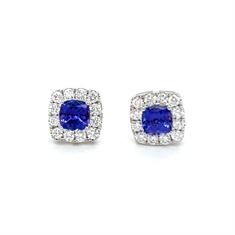 Tanzanite & Diamond Micro Set Cluster Earrings 2.18ct