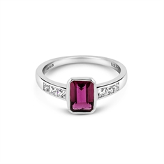 Octagon Pink Tourmaline & French Cut Diamond Engagement Ring