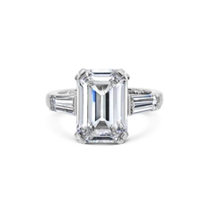 Emerald Cut With Tapered Baguette Diamond Shoulders 5.04ct