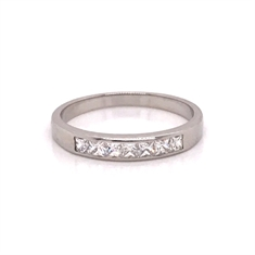 French Cut Channel Set Half Eternity Ring
