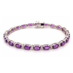 Oval Amethyst & Diamond Claw Set Bracelet 10.55ct
