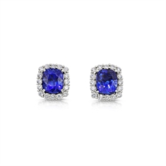 A Pair of Cushion Cut Sapphire & Diamond Cluster Stud Earrings