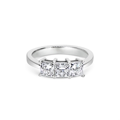 Claw Set Three Stone Princess Cut Diamond Engagement Ring 1.58ct