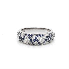 Sapphire & Diamond Domed Half Eternity Ring