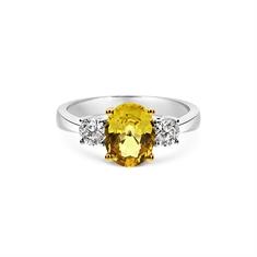 Oval Yellow Sapphire & Brilliant Cut Diamond Three Stone Engagement Ring