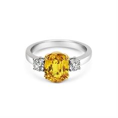Oval Yellow Sapphire & Brilliant Cut Diamond Three Stone Ring
