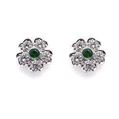 Emerald & Diamond Flower Cluster Earrings