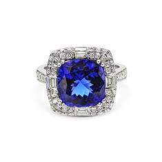 Tanzanite Cushion Cut & Diamond Set Cluster Dress Ring