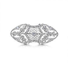 Filigree Diamond Set Honeycomb Brooch