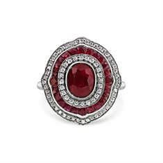 Ruby & Diamond Vintage Style Target Cluster Ring